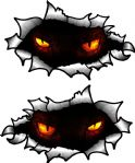 Small handed Oval Ripped Pair Metal Design With Evil Demon Eyes Motif Vinyl Car Sticker 85x50mm Each